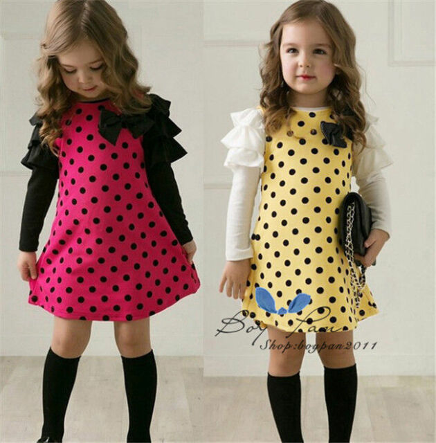 New Style Kids Girls Toddler Dots Clothes Clothing Skirt Princess Dress Sz2-7Y