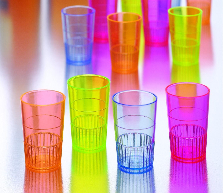 500 Neon Lights Hard Plastic Shot Glasses Cups 1.5oz ColGoldt Glass Shooters