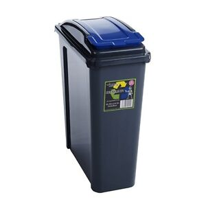 25 litre narrow slim plastic waste recycle recycling bin with flap lid ebay. Black Bedroom Furniture Sets. Home Design Ideas