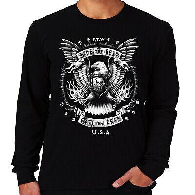 Velocitee Mens T-Shirt Ride The Best Biker Harley Bobber Chopper A10278