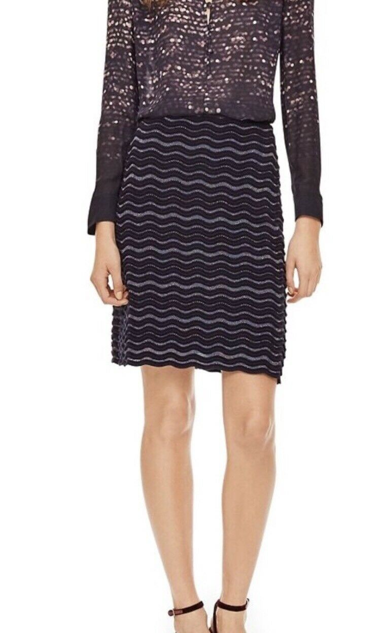 Tory Burch Skirt Metallic Wavy Wave Knit Sweater Wool Blend Navy bluee Sz XS NEW