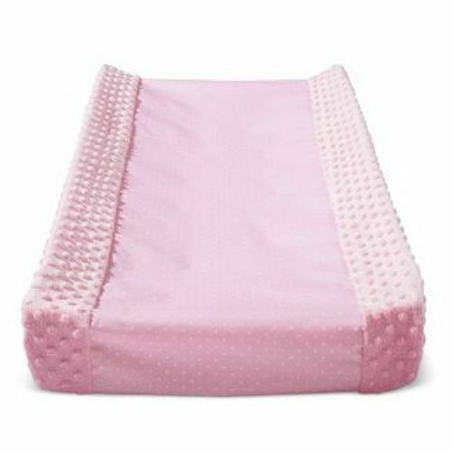 Pink Polka Dot Wipeable Plush Sides Changing Pad Cover Cloud Island NWT
