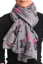 Grey With Cats In Love Unisex Scarf and Beach Sarong (SF000731)