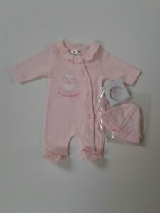 Premature tiny baby girls  clothes velour baby grow 3-8 lbs