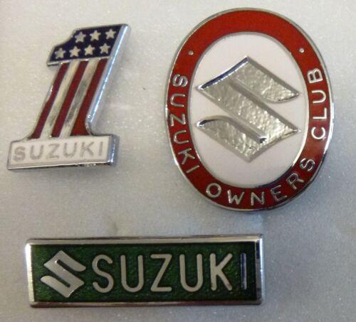 SUZUKI Enamel Lapel Pin Badges x 3 inc OWNERS CLUB MOTORCYCLES MOTORBIKE Lot 1