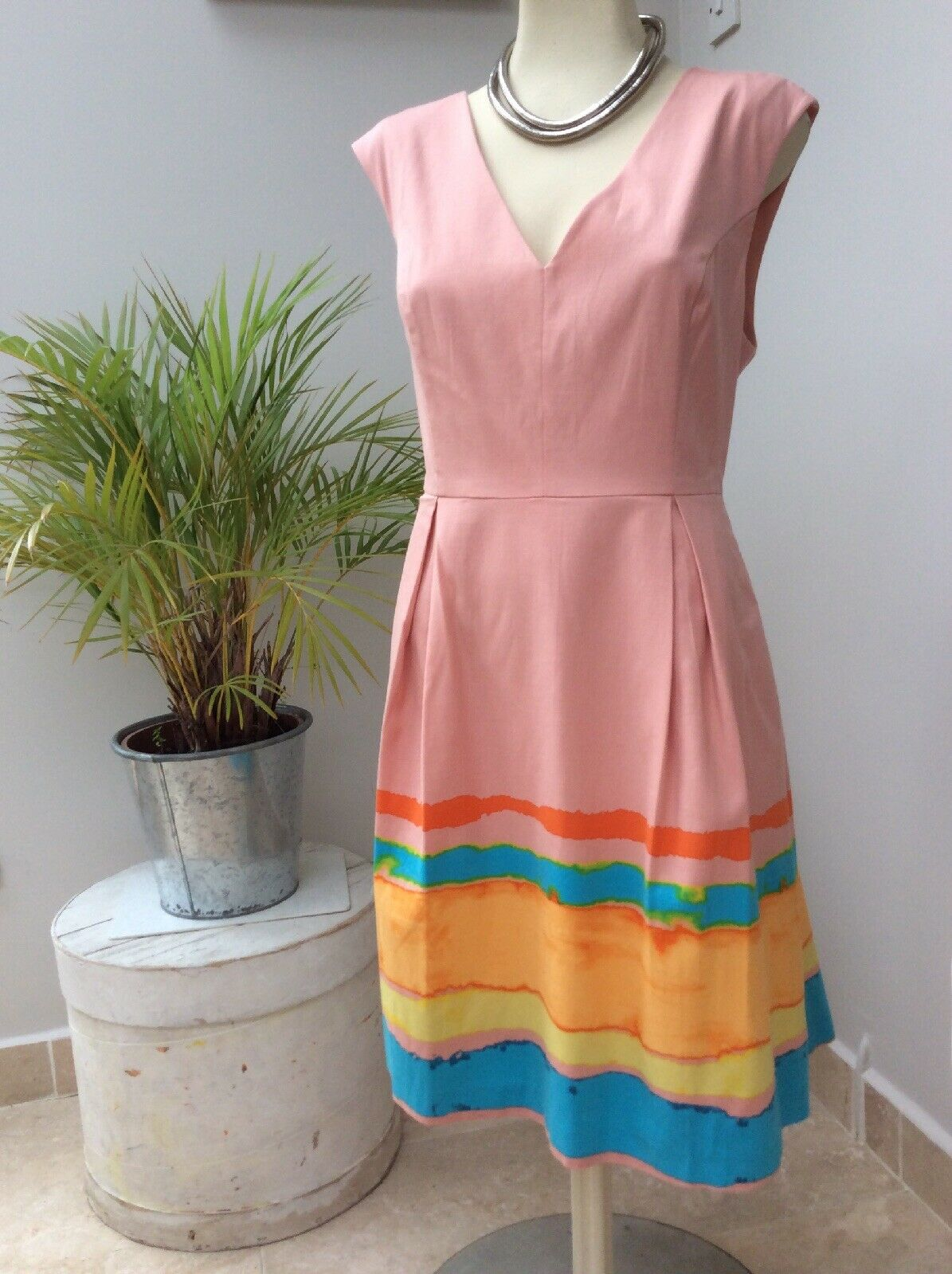 TRACEY REECE ANTHROPOLOGIE Rosa Rosa FIT AND FLARE DRESS Größe UK14 BNWT RRP
