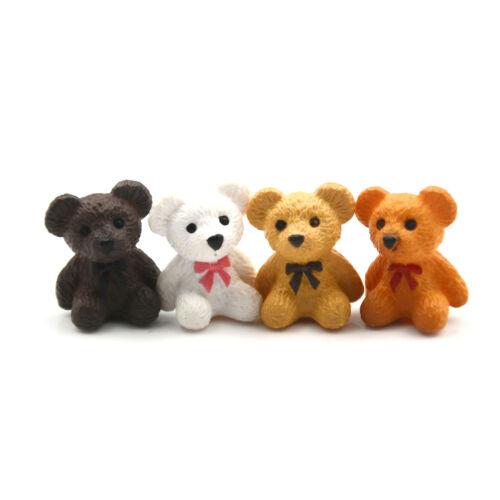 4pcs/lot Bear figurines mini Fairy Garden animaux statue miniature