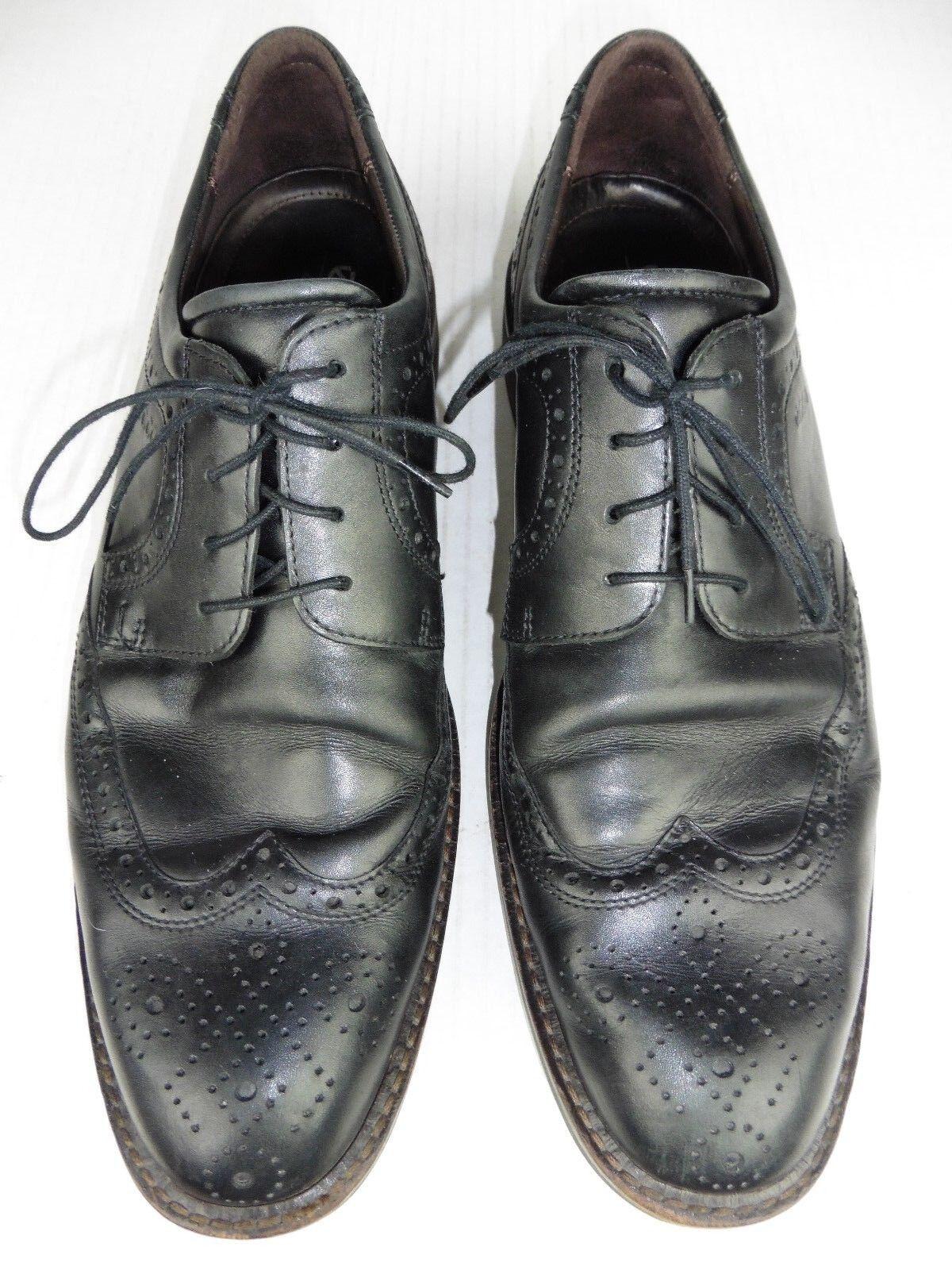 ECCO Mens 45 Size 11 Black Brogue Wingtip Leather Oxford Comfort Shoes Reg 170