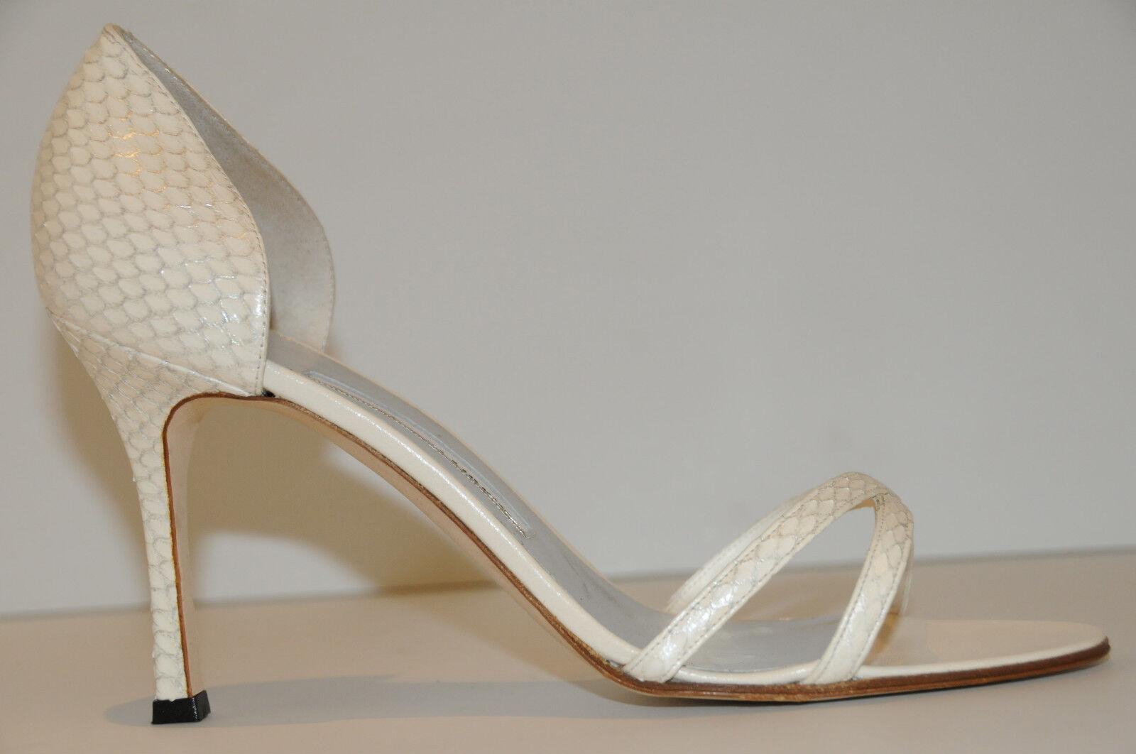 985 Nueva Manolo Blahnik Pari blancoo Plata Serpiente pieles boda sandalias zapatos 40.5