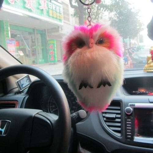 Soft Faux Rabbit Fur Plush Bunny Fluffy Owl Woman Keychain Car Keyring Pompoms