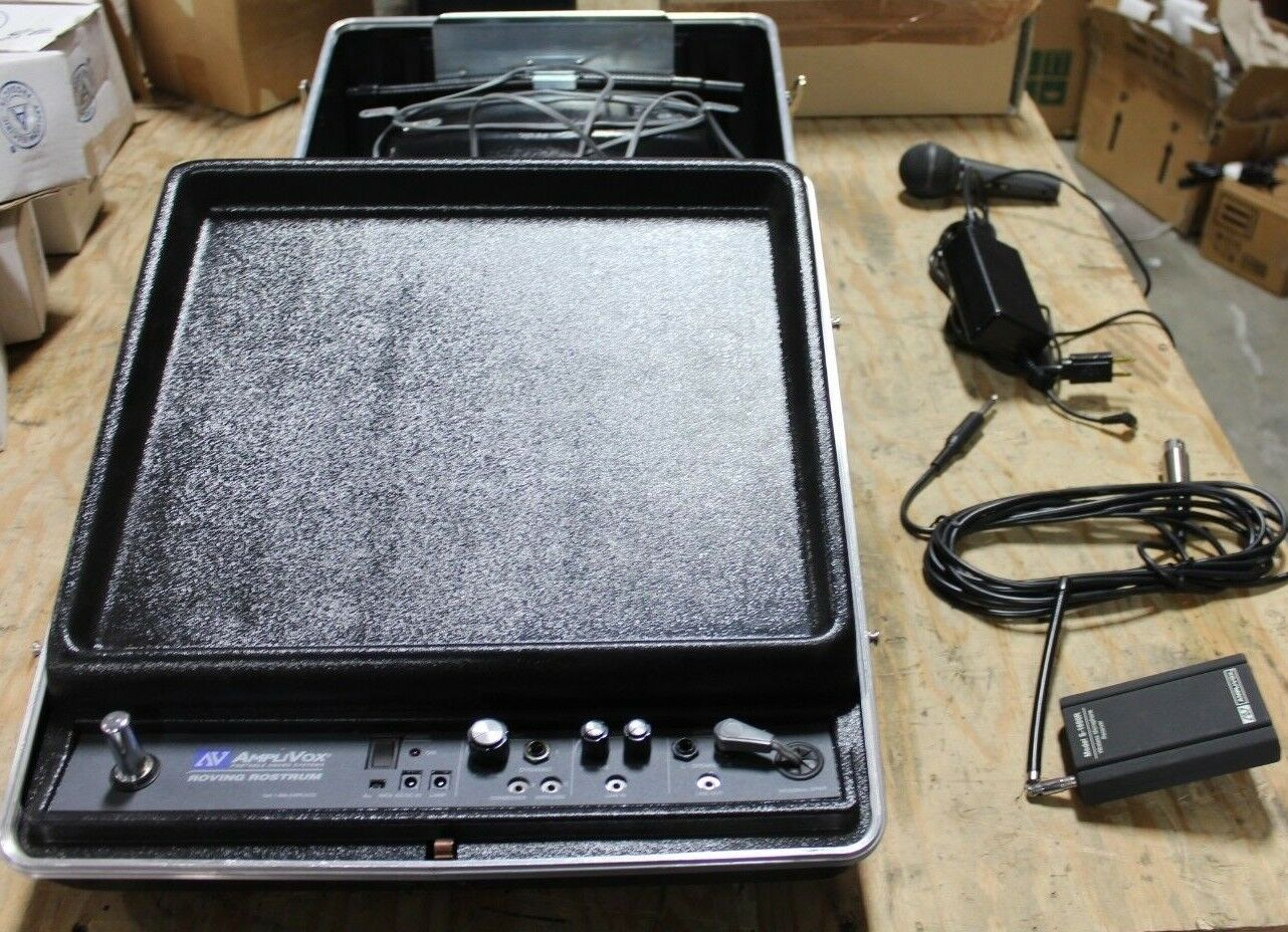 Amplivox Portable Sound System Roving Rostrum Floor Model S122 w  S-2030A Mic.