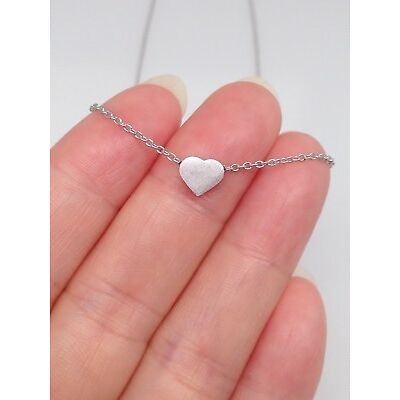 "Sterling Silver 925 Small Tiny Heart Pendant Necklace 6mm 16""-18"""