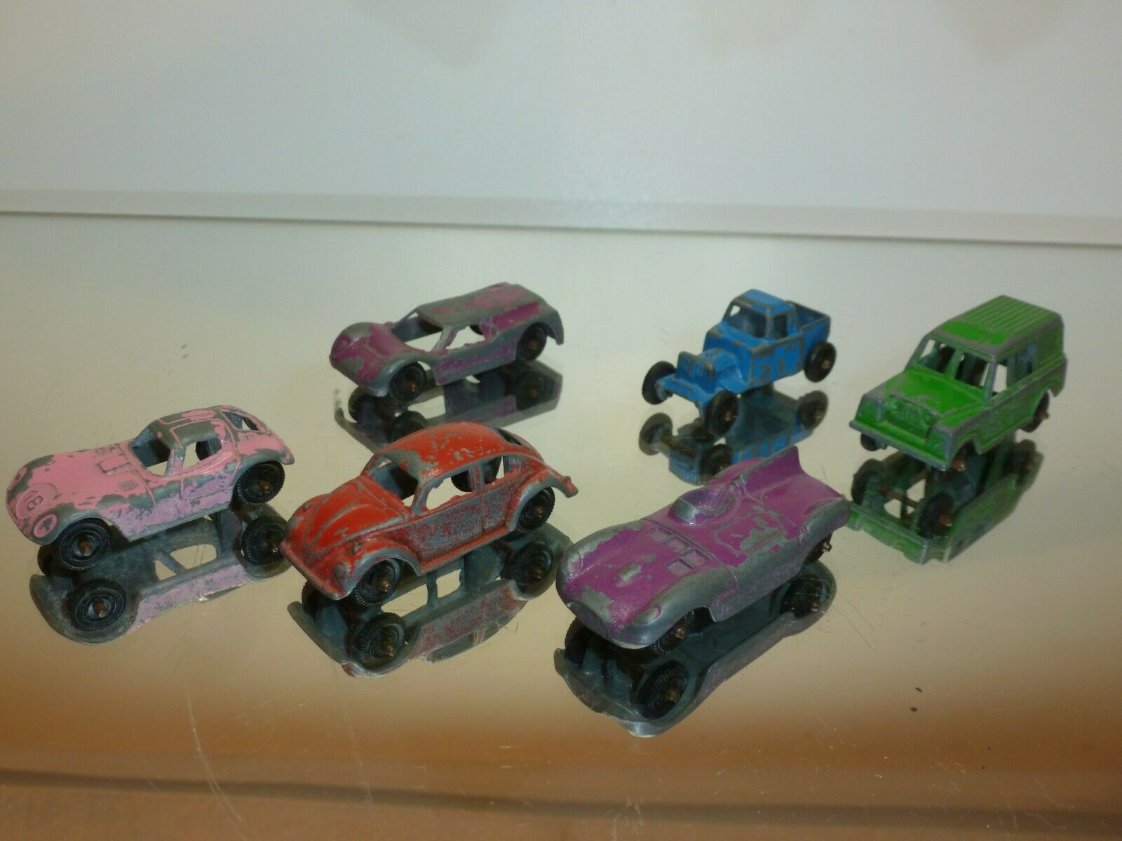 TOOTSIETOY 6x CARS VW JAGUAR LANDROVER FORD HOTROD RACECAR - GOOD CONDITION