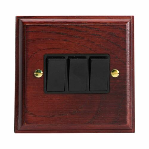 Varilight XK3MB Kilnwood Mahogany 3 Gang 10A 1 or 2 Way Rocker Light Switch