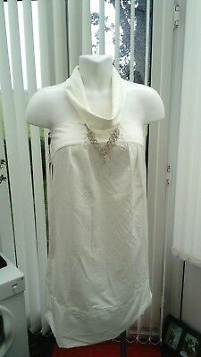 """tsogyal"" Ivory Ladies Dress With Attached Necklace Acrylic 12/14 Facile Da Riparare"