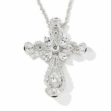 """1.64 CT ABSOLUTE STERLING BAGUETTE TIPPED CROSS PENDANT 18"""" CHAIN NECKLACE HSN"""