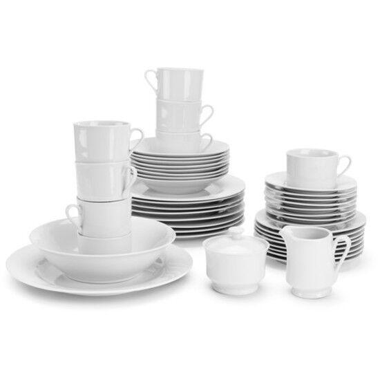 White 45-Piece Round Porcelain Dinnerware Set Dinner Plates,, Service for 4