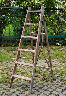 Vornehm Alte Stabile Leiter Aus Holz Antiquitäten & Kunst Holzleiter,setztreppe Alte Malerleiter Höhe 142 Cm Strukturelle Behinderungen