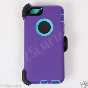 cheaper 7e465 7f82b Details about For iPhone 6 Plus Purple/Teal Case Cover (Clip fits Otterbox  Defender)