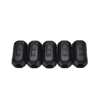 5pcs 9mm Noise Suppressor EMI RFI Clip Choke Ferrite Core Cable Filter Black JKC