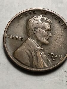 1929 1c Lincoln Wheat Cent Penny US Coin Average Circulated