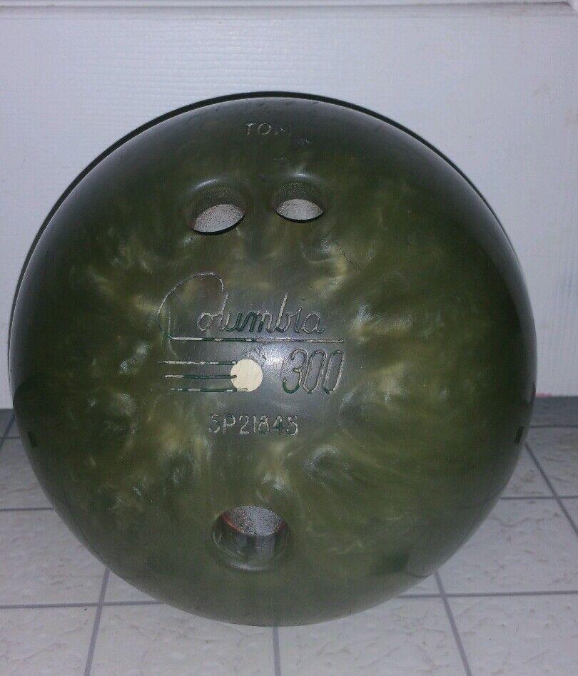 VINTAGE COLUMBIA 300 WD DOT White Dot 14 lb Bowling Ball Swirl -  Army Green