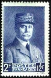 FRANCE-STAMP-TIMBRE-YVERT-N-570-034-MARECHAL-PETAIN-BLEU-2F-12F-034-NEUF-xx-LUXE