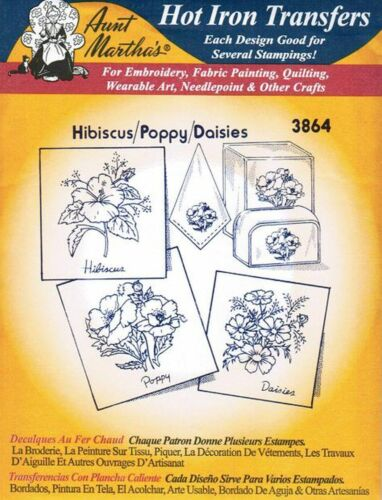 Hibiscus-Poppy-Daisies Aunt Martha/'s Hot Iron Embroidery Transfer #3864