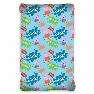 Peppa-pig-Bleu-Groin-Simple-Ajuste-Coton-Drap-Enfants