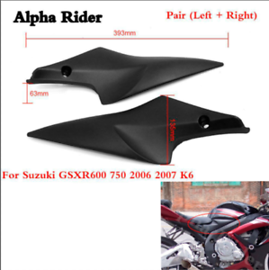 Black-Tank-Side-Cover-Panels-Fairing-For-Suzuki-GSXR600-750-2006-2007-K6-06-07