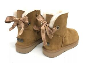 4f3e95c045c Details about UGG Australia Customizable Bailey Bow Mini Shearling Boots  Chestnut 1100212 ~