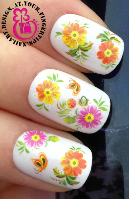 NAIL ART WRAP WATER TRANSFERS STICKERS DECALS SET PINK FLOWERS & BUTTERFLY #17