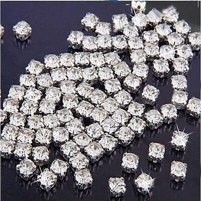 FD141 100pcs Sew on Clear Crystal Rhinestones Diamond Flatback Craft Dress Make\
