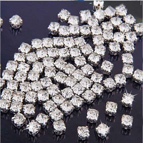 FD141 100pcs Sew on Clear Crystal Rhinestones Diamond Flatback Craft Dress Makes