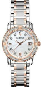 Bulova Women's Quartz Diamond Accents Date Display Two Tone 26mm Watch 98R199