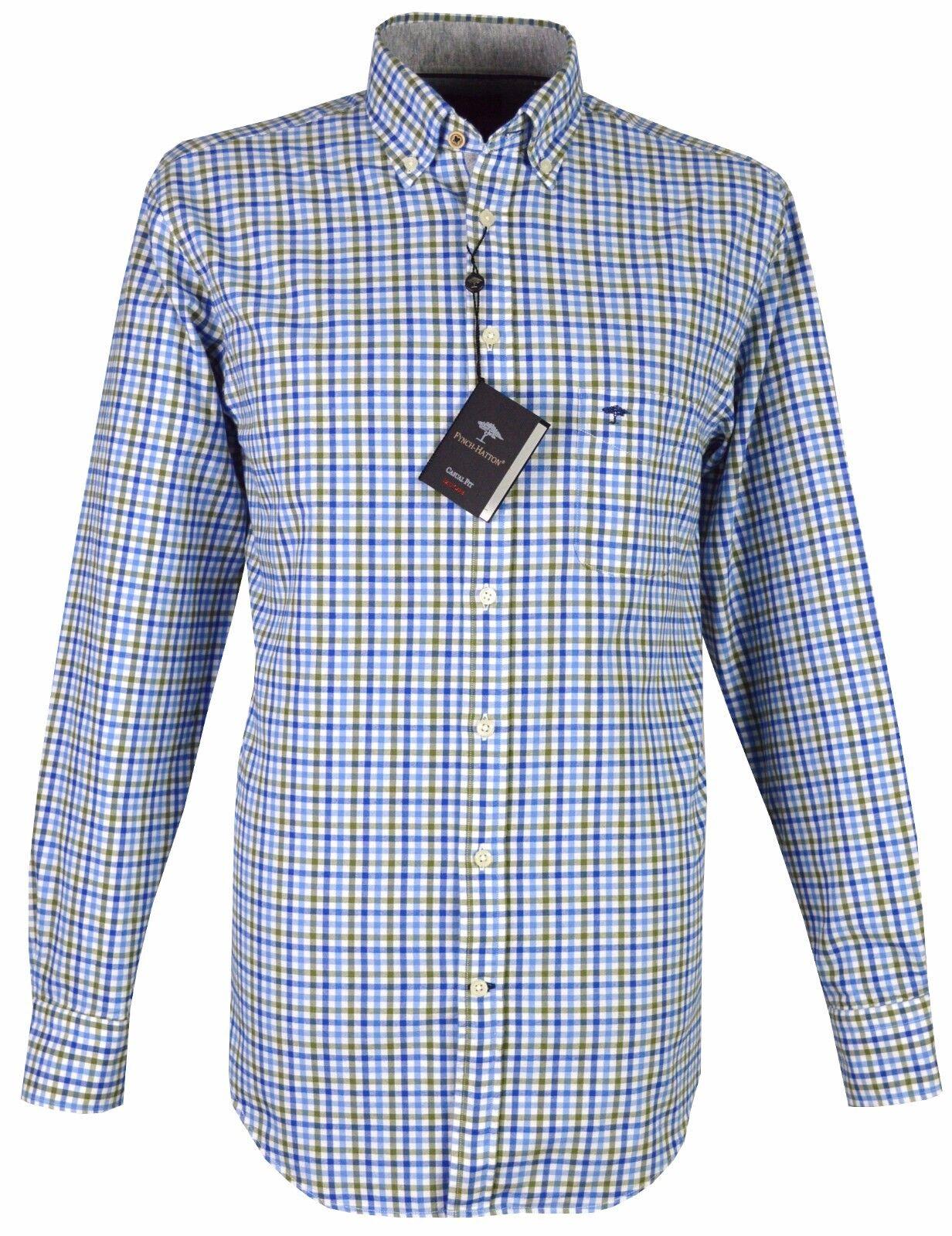 FYNCH Hatton uomo camicia casual - 1217-6090 6098-BLU-verde OLIVA Controllo