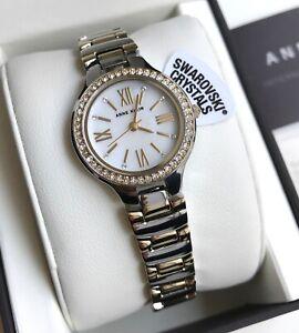 Anne Klein Watch * 3195MPTT Swarovski MOP Two Tone Gold & Silver Steel Women