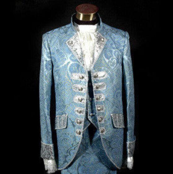 Mens Slim Fit Floral Royal  Court Suits Formal Dress Vintage S-3XL Wedding azul  popular