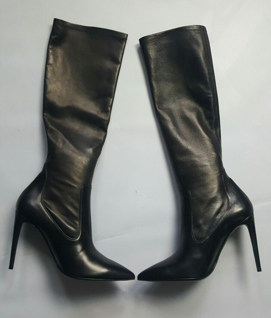 RALPH LAUREN COLLECTION TATIANA BLK STRETCH NAPPA LEATHER BOOT SZ 39/8.5B ITALY