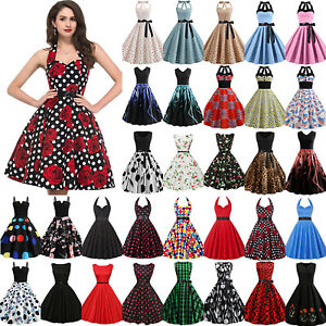 Womens-Vintage-50s-Rockabilly-Swing-Dress-Evening-Party-Cocktail-Pinup-Ball-Gown