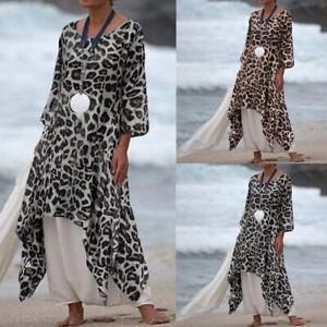 Femme-Manche-Longue-Robe-Imprime-leopard-Manche-Longue-Casuel-Loose-Dresse-Plus