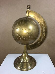 Solid Brass Table Top Desk Embossed Globe - LincolnRex Mathias 1611 AD