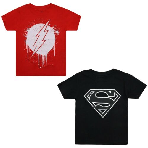 Flash T-shirt Pack Superman Official DC Comics Boys Red//Bla