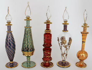 Set-of-Five-9-034-Egyptian-Perfume-Bottles-24K-Gold-Plated-Mouth-Blown
