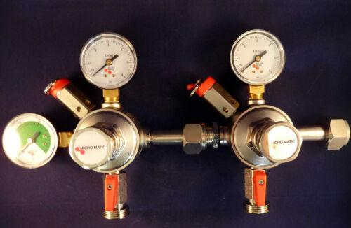 Micro Matic Co2 oder N2 Druckminderer 3 oder 7 bar nach Wahl für Bier Zapfanlage