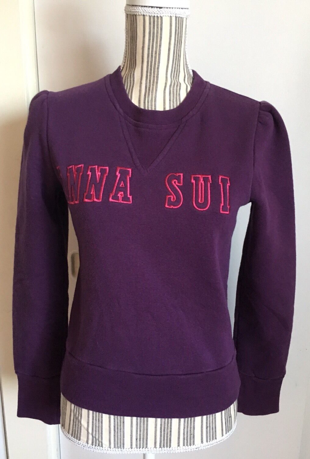 ANNA SUI Monogramed Embroidered Sweatshirt Purple Size Small
