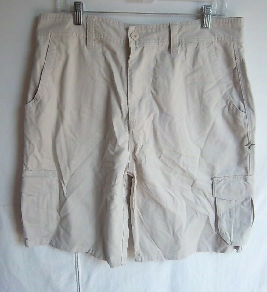 HURLEY -  Men's Khaki Beige Heavy Cotton Cargo Shorts - SIZE 34