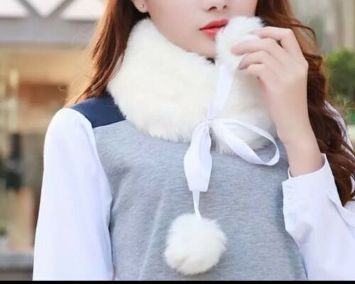 Gift For Woman Winter White Scarf with pom pom Faux  Fur Collars Soft  Wrap