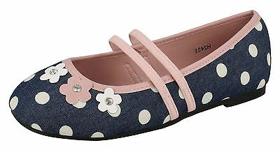 Girls Spot On Blue/Pink Spotty Floral Summer/Party Dolly Shoes Sizes 9-2 H2431