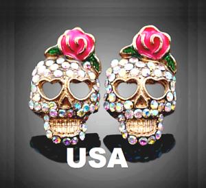 US-Seller-Betsey-Johnson-Halloween-Crystal-Sugar-Skull-Stud-Earrings